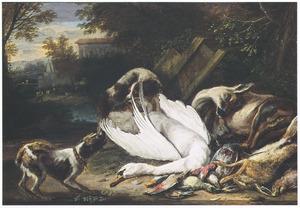 Twee honden bij jachtbuit van zwaan, ree, haas en gevogelte