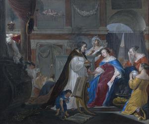 Koningin Artemisia maakt zich op om de as van haar man Mausolos te drinken