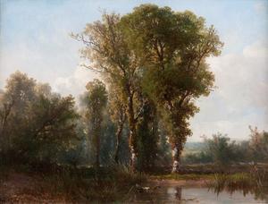Hollands landschap met opgaand geboomte
