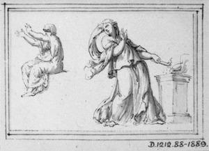 Offerende vrouw bij altaar, en zittende vrouw