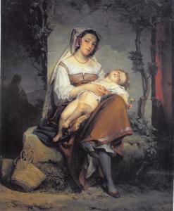 Jonge Italiaanse vrouw met kind
