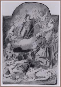H. Carolus Borromeus bidt tot Maria voor de pestlijders