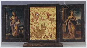 Buitenluiken van een drieluik met de H. Agnes  (links) en  de H. Barbara (rechts)