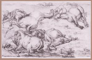 Dode paarden en soldaten op slagveld