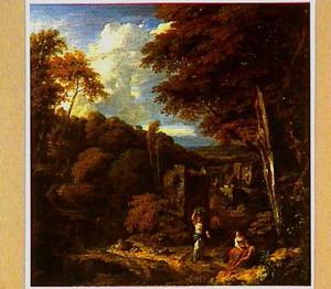 Boslandschap met ruïne en figuren