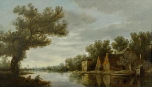 Rivierlandschap met vissers op de linkeroever