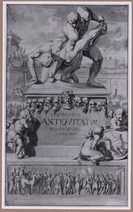 Beeld van Romeinse worstelaars op voetstuk