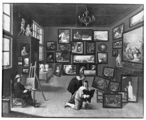 David Teniers (II) schilderend in een atelier