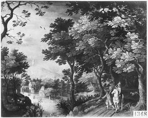 Landschap met valkenjager en zijn knecht