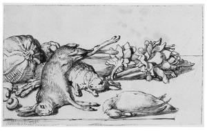 Stilleven met dode haas en konijn, eend en artisjokken