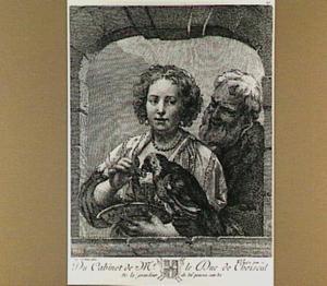 Oude man en jonge vrouw met papegaai in een venster