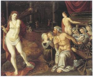 De verliefde Hercules verricht vrouwenwerk voor Omphale