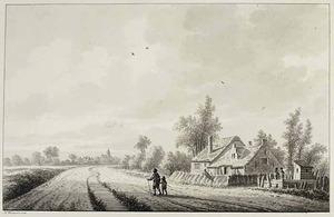 Lienden, wandelaars op een landweg