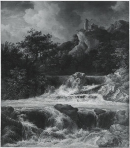 Berglandschap met een waterval op de voorgrond