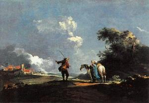 Landschap met twee reizigers, in de achtergrond brandende gebouwen