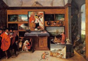 Kunstliefhebbers in een kunstgalerij; op de voorgrond een geketend aapje en rechts een doorkijk in een landschap met 'Anes Iconoclastes'