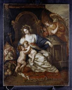Maria met Christus en Johannes als allegorie op de Vrede van Westfalen