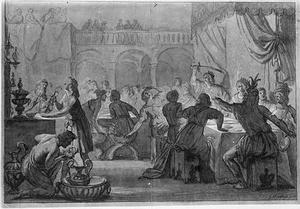 Koning Ingild Vendemod doodt de moordenaars van zijn vader bij een banket