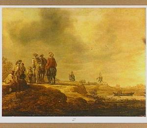 Landschap met een groep ruiters aan de oever van eeen rivier; op de achtergrond een windmolen