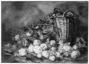 Stilleven met aardappels en bloemen