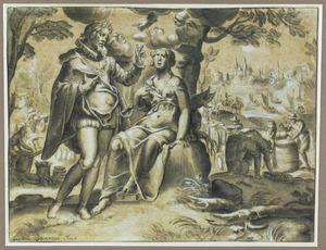 Allegorische voorstelling uit de serie 'De Onderwerping en Bevrijding der Nederlanden': Prins Maurits door God aangewezen als redder van Belgica