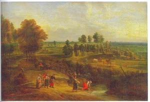 Uitgestrekt landschap met paarden op een veld en vrouwen bij een beek
