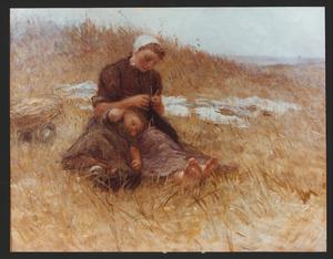 Een breiende vissersvrouw met slapend kind in de duinen