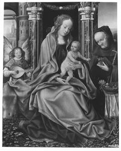 De H. Familie met musicerende engel