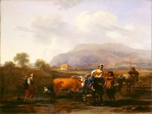 Zuidelijk landschap met herders onderweg