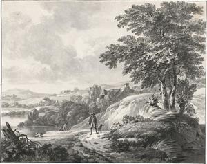 Heuvellandschap met jager en vissers
