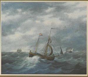 Tweemast kofschip op woelig water