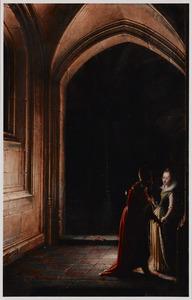 Zijbeuk van een gotische kerk met een ontmoeting tussen een bisschop en een jonge vrouw