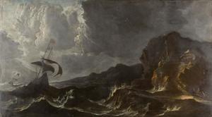 Schepen in moeilijkheden voor een rotsachtige kust bij stormachtig weer
