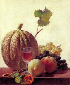 Stilleven met meloen, druiven en perziken