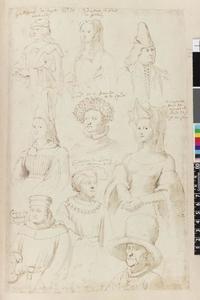 Studie van Willem van Ligne, Adrienne van Halewijn en zeven edellieden