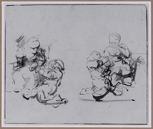 Knielende man voor zittende vrouw, twee versies