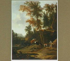 Bosachtig landschap met een herderin en haar kudde