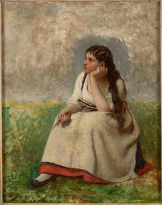 Peinzende jonge vrouw