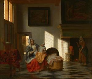 Binnenhuis met moeder en kind