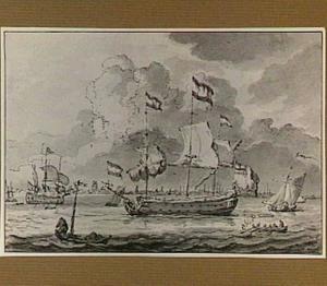 Zeegezicht met Hollandse schepen