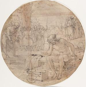 Christus als man van smarten, zittend op het kruis met een blanco schild voor de donor's wapen