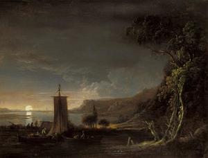 Rivierlandschap met maanlicht
