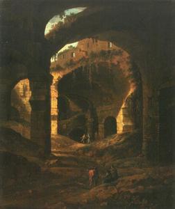 Ruïnengewelf (Colosseum?) met tekenaars