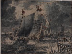 Hollandse schepen op woelige zee bij een stad