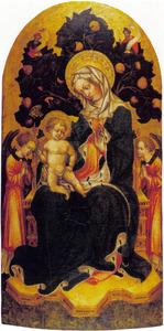 Tronende Maria met kind met engelen en profeten