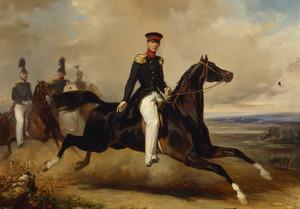 Portret van prins Alexander (1818-1848) te paard, gevolgd door drie officieren