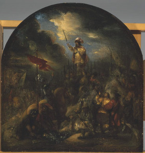 Brinio, aanvoerder van de Kaninefaten, op het schild geheven (Tacitus, Historiae, IV:15)