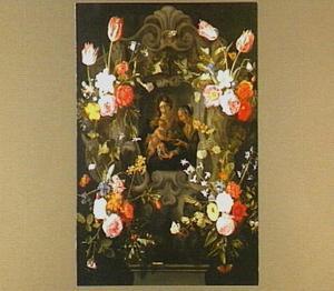 Voorstelling van Anna-te-drieën omringd door een krans van bloemen