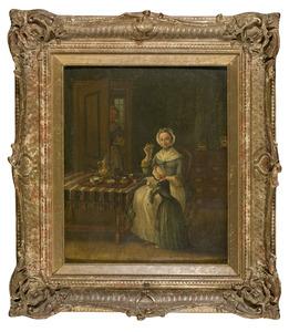 Interieur met moeder en kind, in de deuropening een dienstmeid