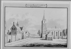 Rechthuis en de kerk van 's Gravenzande, gezien vanuit het zuiden